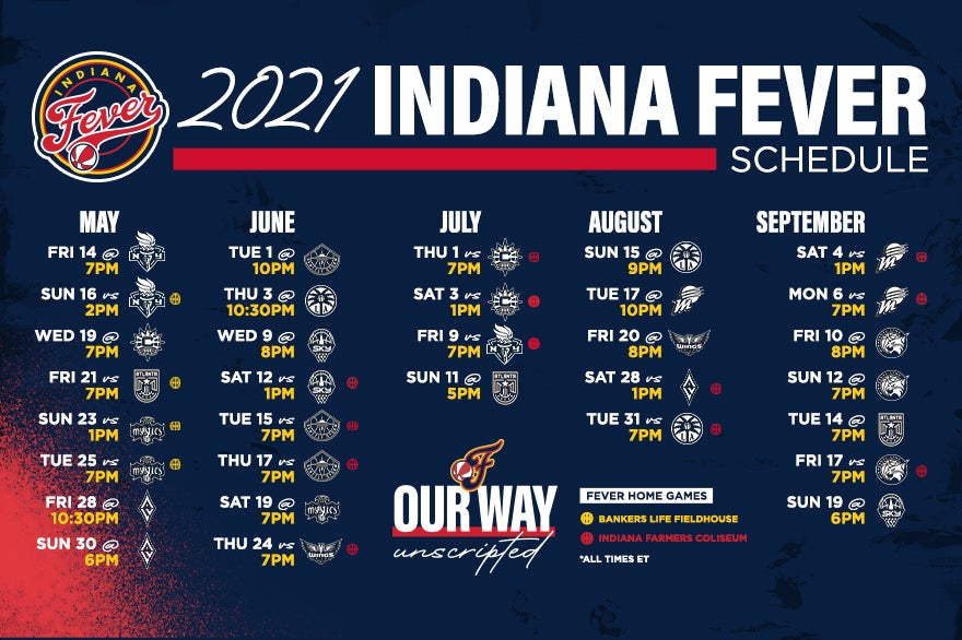More Info for Indiana Fever Announce 2021 Regular Season Schedule